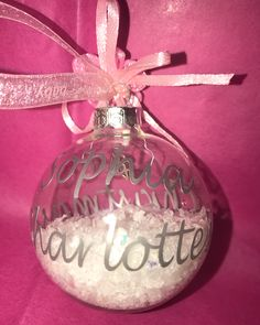 """Donna on Instagram: """"Grey and pink request for a special baby girl's first Christmas- boxed £15 With snow and 2017 charm inside #babybauble #christmasbauble…"""" Christmas Baubles, First Christmas, Charmed, Snow, Holiday Decor, Grey, Pink, Instagram, Gray"""