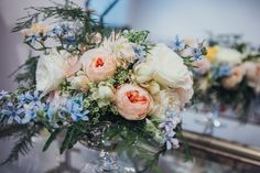 Lanson B. Jones Floral + Events | Megan Chandler floral designer | #macfloraldesigns | Giverny Wedding Photography | peach and blue centerpiece