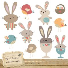 Egg Cup Bunny Rabbit and Bird Digital Clip by CollectiveCreation, $4.00