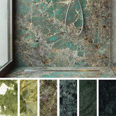 Tendenza Greenery: marmi e graniti verdi nell'interior design - Laperla marmi Granite Bathroom, Stone Bathroom, Stone Wall Design, Art Deco Bathroom, Stone Interior, Barn Renovation, Marble Wall, Green Marble, Faux Stone