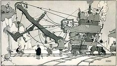 An image of a black and white illustration of some sort of machine surrounded by people