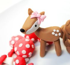 Woodland fondant 1 deer with pink bow, 1 fox  for a woodland party, fairy party