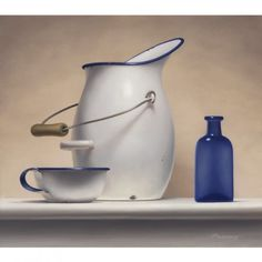 Ted Polomis, Enamel Pitcher, 2015, Oil on Panel, 16x18, Kobalt Gallery, Provincetown, MA