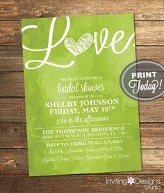Bridal Shower Invitation Love Birds Heart Cranberry Dark Pink