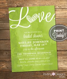 Watercolor Bridal Shower Invitation, Love, Art, Green, Apple Green, Retro, Printable File (Custom Order, INSTANT PROOF) by InvitingDesignStudio on Etsy