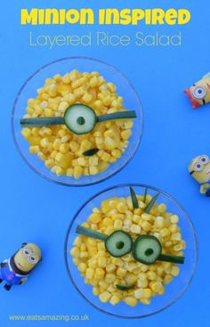 Despicable Me Minion Movie inspired healthy layered rice salad recipe from Eats Amazing UK - healthy fun food for kids - family friendly meal idea