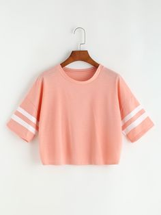 Shop Varsity Striped Drop Shoulder Crop Tee online. SheIn offers Varsity Striped Drop Shoulder Crop Tee & more to fit your fashionable needs.