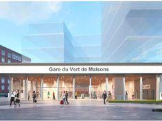 Gare Le Vert de Maisons La gare du Vert de Maisons s'inscrira le long des voies ferrées à la frontière entre Maisons-Alfort et Alfortville. Elle placera les deux villes à 45 minutes de Montrouge contre environ 1 heure aujourd'hui.Architecte: Valode