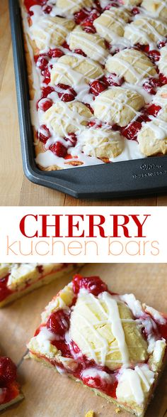 Cherry Kuchen Bars These delicious cherry kuchen bars sometimes called cherry pie bars are flaky sweet and completely delicious This is one of the top 5 recipes of all t. Mini Desserts, Brownie Desserts, German Desserts, Cherry Desserts, Easy Desserts, Dessert Recipes, Cherry Pie Filling Desserts, Desserts With Cherries, Sweet Cherry Recipes