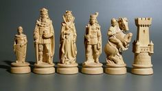 Chess set ca. second half of the 20th century. From Deutschland, Germany. Made of wood in a medieval style.