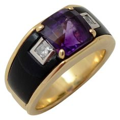 Michael Bondanza Gold Ring with Onyx,Amethyst and Diamonds. circa 1980s...