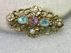 Vintage Gold Tone Baroque Brooch with Faux Pearls and Pink A.B. Stones #Unsigned