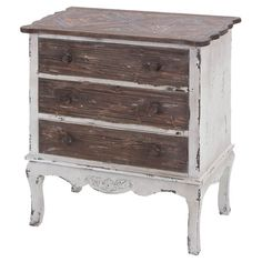 Weathered 3-drawer wood chest with antiqued drawer pulls and scalloped edging.   Product: ChestConstruction Material...