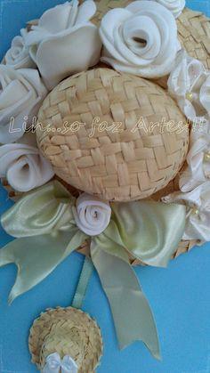 chapéu decorado com rosas em e.v.a, fuxicos e fitas de cetim, passo a passo