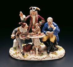 "Porcelain Group ""The Dentist"" by Johann Joachim Kaendler (1706--1775) From the early years of the world famous Meissen Porcelain Manufactory"