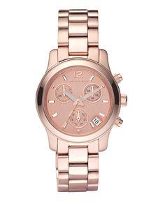a73b21cf05c Michael Kors Women s Chronograph Mini Runway Rose Gold-Tone Stainless Steel  Bracelet Watch 33mm MK5430