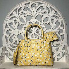 Kate Spade Darcy Small Satchel & Card Wallet SET Yellow Multi Fleurette | eBay Matching Cards, Blue And White, Yellow, Card Wallet, Studs, Satchel, Kate Spade, Bags, Handbags