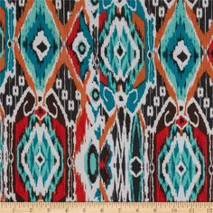 Chiffon Ikat Abstract Multi from @fabricdotcom This very lightweight sheer fabric is perfect for scarfs, shawls, special occasion apparel, blouses and lingerie. This elegant and luxurious sheer chiffon fabric has an ultra soft hand and a beautiful flowing drape that feels lovely against the skin. Colors include white, red, orange, black, mint and teal.