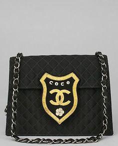 chanel black canvas coco crest clutch
