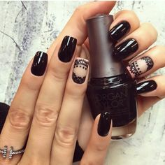 Black and nude lace nails