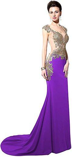 f82c90883edb Amazon.com  Sarahbridal Women s Formal Mermaid Evening Prom Dresses  Rhinestones Sheer Back Ball Gowns Purple US10  Clothing