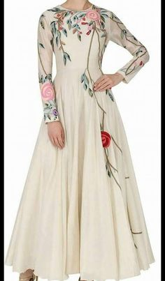 Samant Chauhan presents Off white floral embroidered gown available only at Pernia's Pop Up Shop. Anarkali Dress, Pakistani Dresses, Indian Dresses, Indian Outfits, White Anarkali, Abaya Fashion, Moda Fashion, Indian Fashion, Fashion Dresses