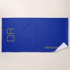 #stylish - #yellow name  initials on a cobalt blue elegant beach towel