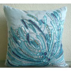 Water Burst - 14x14 inches Square Decorative Throw Blue Silk Pillow Covers Embellished with Beads & Sequins The HomeCentric http://www.amazon.com/dp/B005YMNPX8/ref=cm_sw_r_pi_dp_P586tb12JAK08