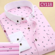 Men Polka Dot Printed Fashion Slim Long Sleeve Shirts Casual Polyester Dress Shirt 19 Color - Loluxe - 6