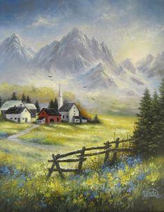 Mountain Landscape alkuperäisen Öljyvärimaalaus 16x20, alppikylän, vuoret, kangas seinälle, Vickie Wade taidetta