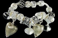silver plated items: bracelet with snap closure, enamel beads, two glassdangles, balls, lock. Pandora Like Bracelets, Cheap Fashion Jewelry, Fashion Jewellery Online, Italian Jewelry, Murano Glass Beads, Italian Fashion, Wholesale Jewelry, Glass Jewelry, Venice