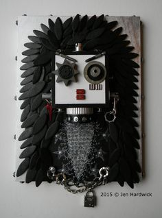 Recycled Assemblage - R.O.C.K.E.R. Bot - Found Object Art - Mixed Media Assemblage by Jen Hardiwck