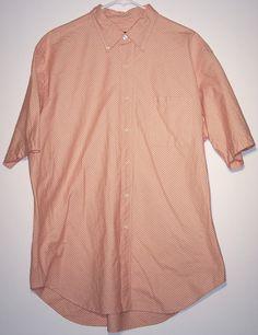 Austin Reed Orange White Plaid Extra Large XL Mens Short Sleeve Button Shirt