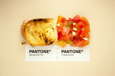 Classic Sicilian Food Pairings Beautifully Presented as Pantone Color Matching Swatches