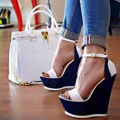 I really need these White and Navy Wedge Sandals Ankle Strap Open Toe Platform Shoes #elegantshoegirl #shoes #ankle #boots #flats #fashions #womens