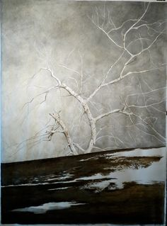 Laura Zuccheri, tree in Winter, tempera and watercolour in paper, cm 140 x 100 ca.  www.salamongallery.com #realism #landscape #nature #figurative #contemporary #art