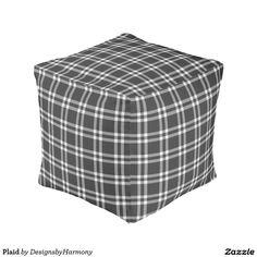 Black Gray and White Plaid Pouf #Ad
