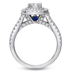 Vera Wang LOVE Collection 1-1/2 CT. T.W. Princess-Cut Diamond Frame Split Shank Engagement Ring in 14K White Gold - View All Rings - Zales