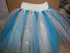 Elsa inspired tutu skirt, glittery tulle skirt, Frozen inspired tutu on white or blue crochet band. on Etsy, $14.00