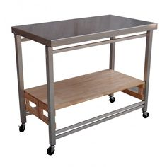 Furniture, Mobile Kitchen Cart Oasis Concepts Prep Table With Stainless Steel Top And Frame Counter And Storage Space Solid Wood Shelf Secure Surface Oasis Flip Fold X Large Isla Kitchen Prep And Serve Table: Stainless Steel Cooking Table for Kitchen