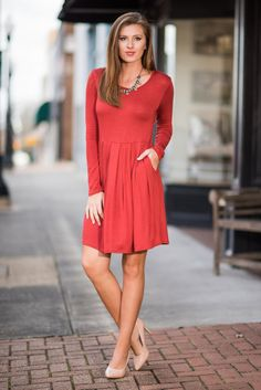 """Tonight and Always Dress, Rust"" This casual jersey knit dress will be your favorite tonight and always! It's so comfy and the cut so flattering! Plus, it has pockets! #newarrivals #shopthemint"