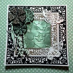 Tattered Lace Dies combine with SU! papers & Fluttering TIEF. Dies: Lacy Layers Squares, Butterflies, Pearl & Flower Swag, and Lacy Chrysanthemum