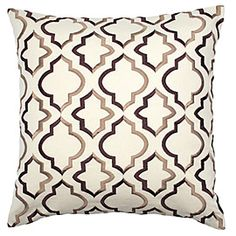 Z Gallerie's exclusive Stefan pillow is an easy addition to today's neutral home furnishings in tones of Natural and Chocolate. The classic design motif is expertly executed in fine satin stitch embroidery on a background of cotton and hemp blend fabric. Measures 20 inches square. Dry clean only.