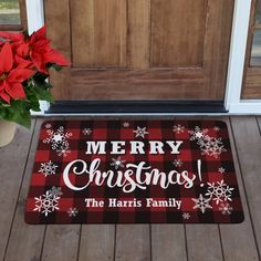 A Personal Creations Exclusive! Mad for plaid? Smitten with snowflakes? We've combined the two on this festive doormat that will look right at home on any holiday entryway. Christmas Doormat, Cozy Christmas, Christmas Ideas, Outdoor Christmas, Rustic Christmas, Christmas 2019, Beautiful Christmas, Holiday Ideas, Primitive Christmas