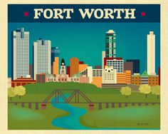 Fort Worth Skyline Art Print Fort Worth TX map by LoosePetals