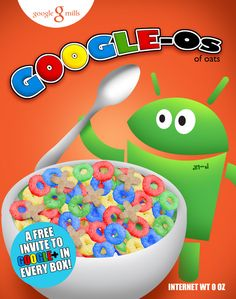 Google Plus Social Cereal Poster by Justonescarf on Etsy