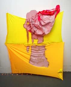 """Residue, spandex, duct tape, blinking orange string lights, latex paint and snaps, 82""""x62""""x14"""", 2012, Kelly O'Brien Tape Art, Sculpture Painting, Duct Tape, Summer Dresses, Prints, String Lights, Latex, Spandex, Orange"""