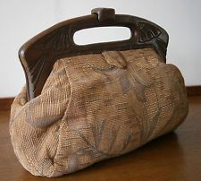 Vintage 1970 S Art Deco Style Tapestry Clutch Bag Carved Wooden Frame Clasp