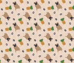 Primitive Pug and pineapple - ditsy fabric by rusticcorgi on Spoonflower - custom fabric