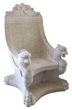 Monumental Antique Marble Throne Chair